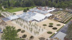 FREE FOR USE IMAGE: In these incredible images taken by drone Monday June 10 heralds the beginning of a new era for RHS Garden Wisley with the opening of a new multi-million pound Welcome building with a Plant Centre the size of four Olympic swimming pools packed with tens of thousands of plants including a greater range of rare and unusual varieties than ever before to help the nation get Greening Great Britain. Photograph By Chris Gorman / RHS  chris@bigladder.co.uk